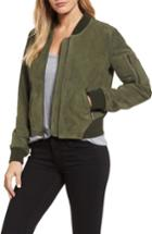 Women's Kenneth Cole New York Crop Suede Bomber Jacket - Green