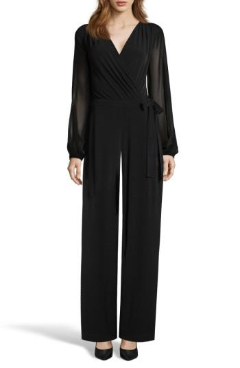 Women's Eci Sheer Sleeve Jumpsuit - Black