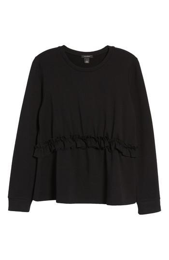 Petite Women's Halogen Ruffle Sweatshirt P - Black