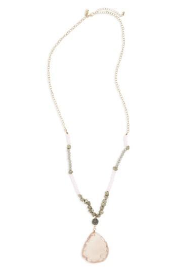 Women's Canvas Jewelry Stone Pendant Necklace