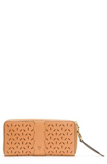 Women's Frye Large Ilana Perforated Leather Zip Wallet - Brown