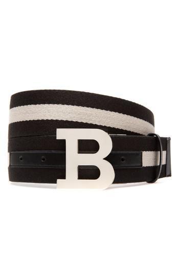 Men's Bally B-buckle Reversible Webbed Belt - Black/ Bone