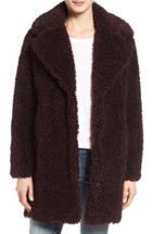 Women's Kensie 'teddy Bear' Notch Collar Faux Fur Coat - Red (online Only)