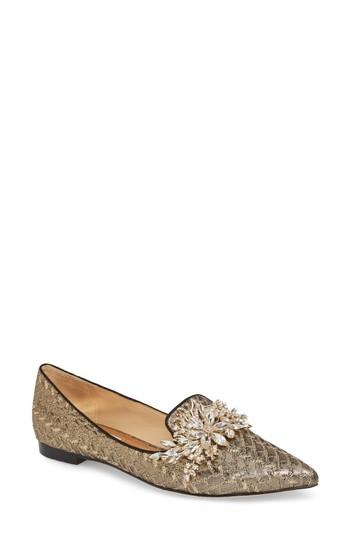 Women's Badgley Mischka Mandy Embellished Loafer Flat .5 M - Metallic