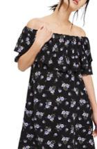 Women's Topshop Bardot Floral Minidress Us (fits Like 0) - Black