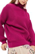 Women's Topshop Frill Neck Sweater Us (fits Like 0) - Pink