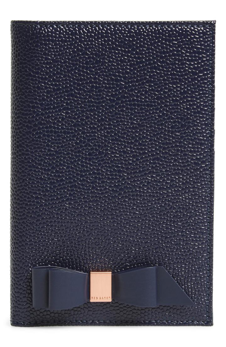 Ted Baker London Peyten Bow Leather Passport Holder - Blue