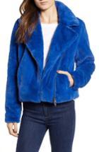 Women's Rebecca Minkoff Henderson Faux Fur Moto Jacket, Size - Blue