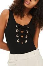Women's Topshop Lace-up Bodysuit Us (fits Like 0) - Black