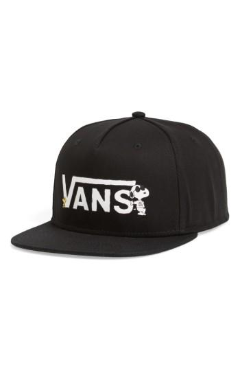 Men's Vans X Peanuts Snapback Ball Cap - Black
