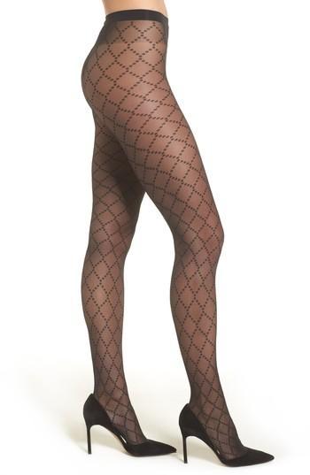 Women's Wolford Dot Net Tights - Black