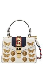 Gucci Mini Sylvie Animal Studs Leather Shoulder Bag - White