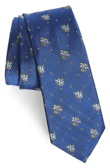 Men's Paul Smith Floral Silk Tie, Size - Blue