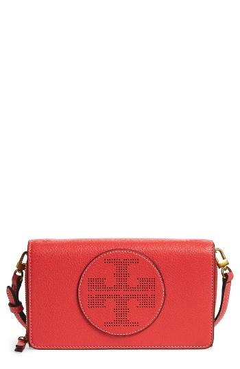 Women's Tory Burch Perforated Leather Wallet Crossbody Bag - Red