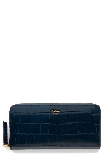 Women's Mulberry Zip Around Leather Wallet - Blue