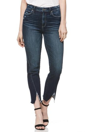 Women's Paige Transcend Vintage - Skyline Twist Hem Ankle Straight Leg Jeans - Blue