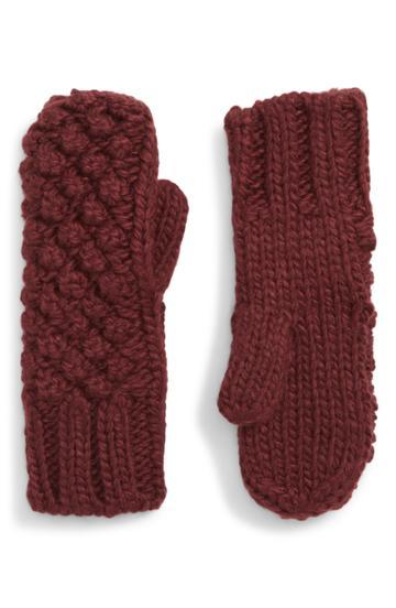 Women's Shiraleah Vale Popcorn Knit Mittens, Size - Burgundy