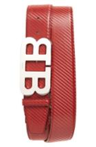 Men's Bally Mirror Buckle Leather Belt - Garnet