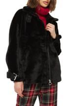 Women's Topshop Faux Fur Buckle Biker Jacket Us (fits Like 0) - Black