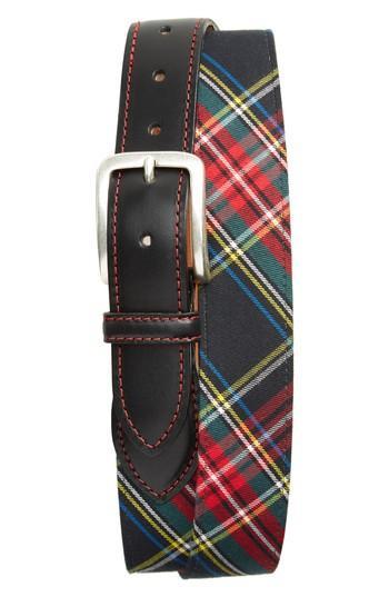 Men's Allen Edmonds Stuart Plaid Leather Belt - Black Tartan