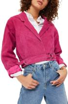 Women's Topshop Maggie Crop Suede Jacket Us (fits Like 0) - Pink