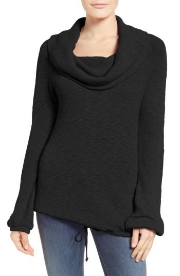 Petite Women's Caslon Textured Terry Pullover, Size P - Black
