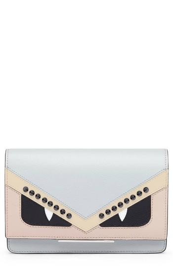 Women's Fendi Tube Monster Leather Wallet On A Chain - Grey