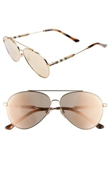 Women's Burberry 57mm Mirrored Aviator Sunglasses -