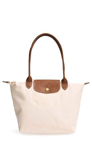 Longchamp 'small Le Pliage' Shoulder Tote - Beige