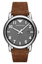 Men's Emporio Armani Suede Strap Watch, 43mm
