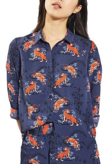 Petite Women's Topshop Tiger Print Shirt P Us (fits Like 00p) - Blue