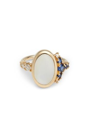 Women's Mociun Moonstone, Diamond & Sapphire Cabochon Ring