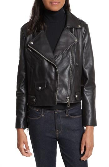 Women's Rebecca Minkoff Wes Leather Moto Jacket, Size - Black