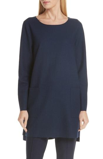 Women's Eileen Fisher Boxy Boiled Wool Tunic, Size - Red