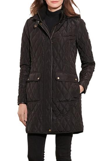 Petite Women's Lauren Ralph Lauren Diamond Quilted Coat With Faux Leather Trim P - Black