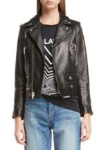 Women's Saint Laurent Ysl Logo Classic Leather Moto Jacket