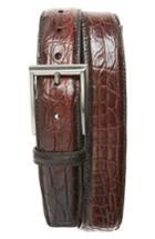 Men's Magnanni Crocodile Leather Belt - Midbrown