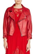Women's Maje Belt Detail Leather & Suede Jacket - Red
