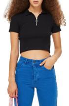 Women's Topshop Zip Polo Us (fits Like 0) - Black