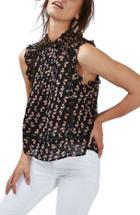 Women's Topshop Ditsy Print Ruffle Sleeveless Blouse