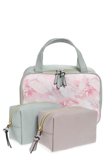 Violet Ray New York 3-piece Zip Cosmetic Cases, Size - Pink Marble