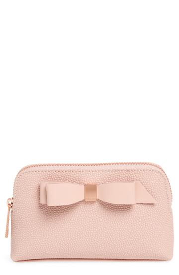 Ted Baker London Emmahh Bow Small Leather Cosmetics Case, Size - Light Pink