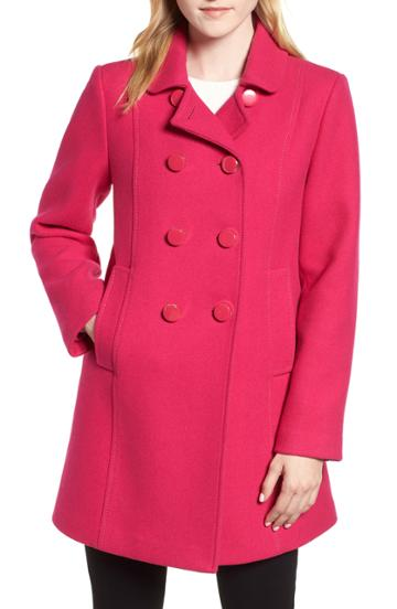 Women's Halogen Asymmetrical Zip Wool Blend Coat