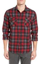 Men's Gramicci Burner Regular Fit Plaid Flannel Shirt - Red