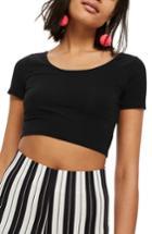 Women's Topshop Scoop Neck Crop Top Us (fits Like 16-18) - Black