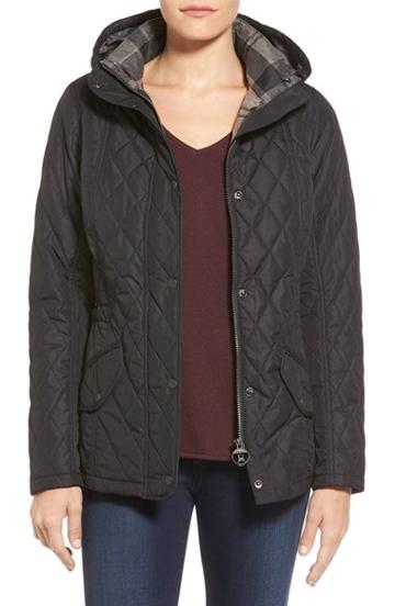 Women's Barbour 'millfire' Hooded Quilted Jacket, Size 10 Us /