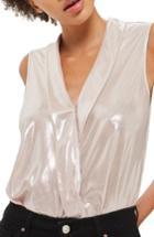 Women's Topshop Drape Metallic Bodysuit Us (fits Like 0) - Beige