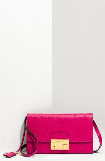 Michael Kors 'Gia' Ostrich Embossed Clutch Neon Pink One Size