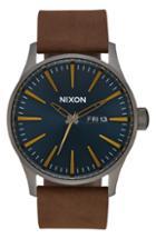 Men's Nixon Sentry Leather Strap Watch, 42mm