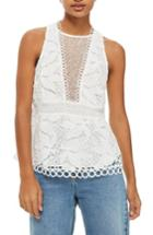 Women's Topshop Lace Peplum Top Us (fits Like 0) - Ivory